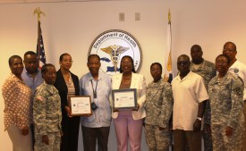 Department of Health; Dr. Marc Jerome, Territorial Health Officer/Medical Director, Department of Health; Acting Director of WIC Lorna Concepcion; SGT Azalea Macedon of the 610th QM CO; Beresford Edwards, ESGR Chair for the VI; SFC Joseph James; CPT Nicole Payne, Commander 610th QM CO; and Mr. Paul Radix, ESGR Employer Outreach Director were in attendance.