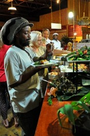 Alphonso Wade on the buffet line at Barefoot Buddha. (Photo courtesy of Grow VI)