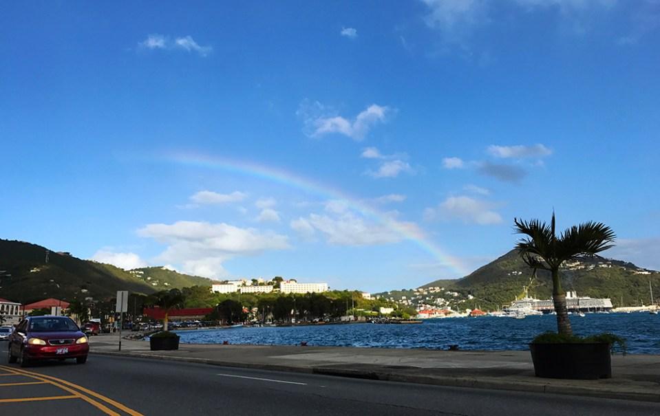 Rainbow Appears Over East Charlotte Amalie. (Chuck Munson photo)