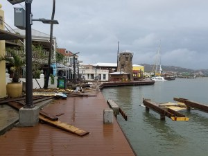 Christiansted boardwalk appears mostly intact although covered with debris. (Facebook photo, posted on many pages, photographer unknown)