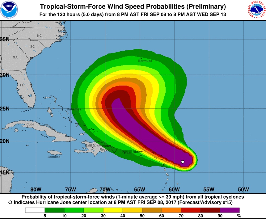 NOAA wind speed projections for Hurricane Jose