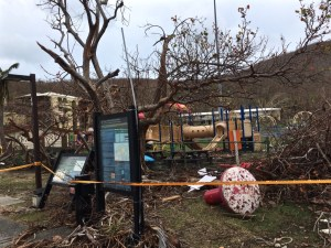 The playground near the National Park Service building in Cruz Bay has been torn apart by hurricane winds.