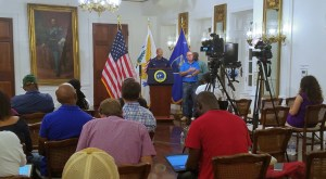 U.S. Surgeon General Dr. Jerome Adams addresses the media Thursday at Government House on St. Croix. (Jamie Leonard photo)