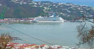 Royal Caribbean's Adventure of the Seas ties up at Charlotte Amalie, where it took on about 560 passengers, part of a contingent of 1,400 evacuated Saturday from the territory. (SAP photo)