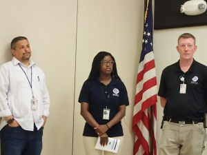 FEMA's Luis Soto, Fitzmarie Cesar and Chad McCormick answer questions at UVI Tuesday.