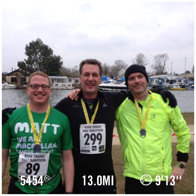 The River Thames Marathon, with Matthew, Richard and me.