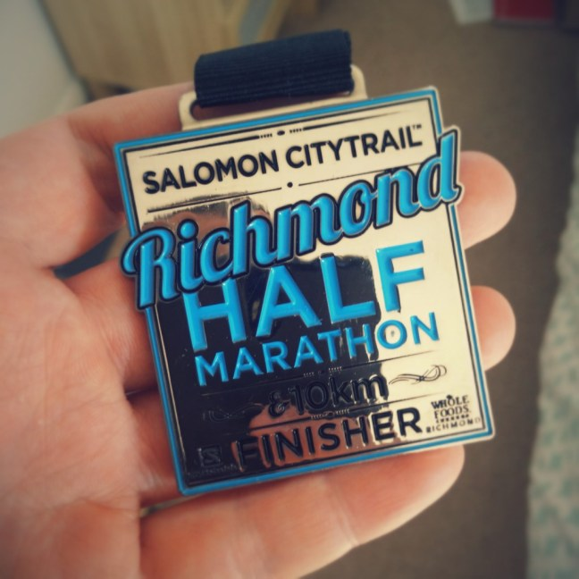 My Richmodn Half finishers medal.