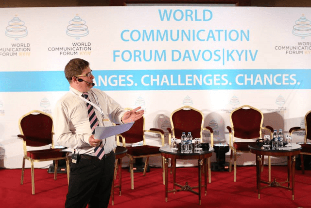Stuart Bruce moderating the World Communication Forum in Kiev photo