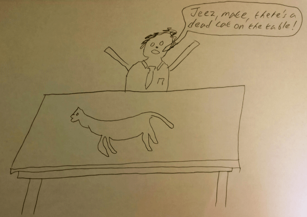 Jeez mate there's a dead cat on table cartoon