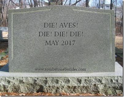 Die! AVEs! Die! Die! Die! gravestone photo