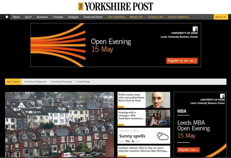 Yorkshire Post intrusive advert screen grab