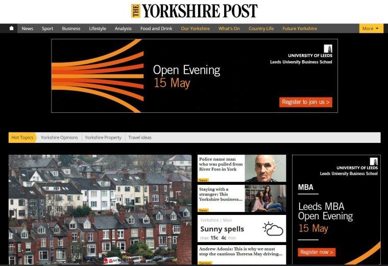 Yorkshire Post intrusive advert screen grab