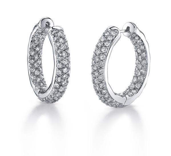 Diamond Oval In + Out Hoop Earrings