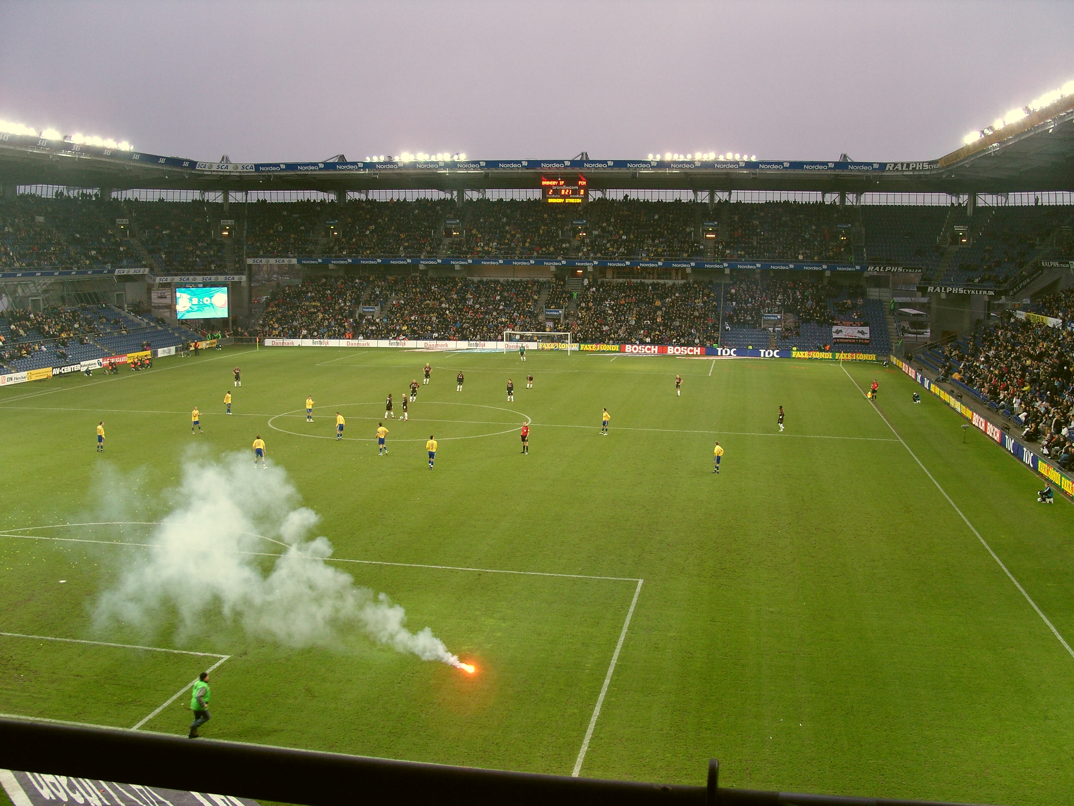 The Brondby fans celebrate an early goal