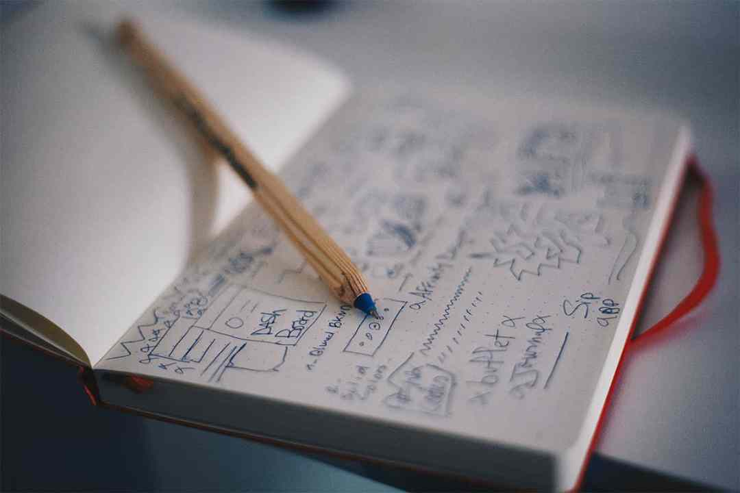 notebook with interface sketches