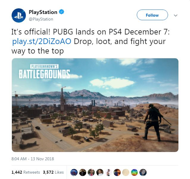 Playstation on twitter twitted about its release on 7th december