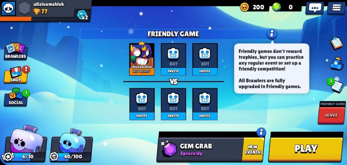 Friendly Game or Team Up in Brawl Stars
