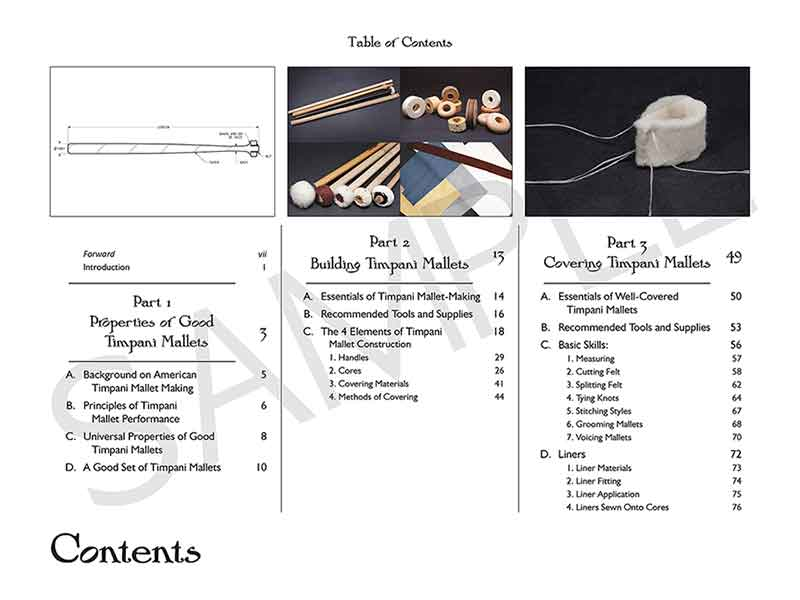 "Table of Contents, spread ""The Art of Timpani Mallet-Making"" by Amy Stubbs"