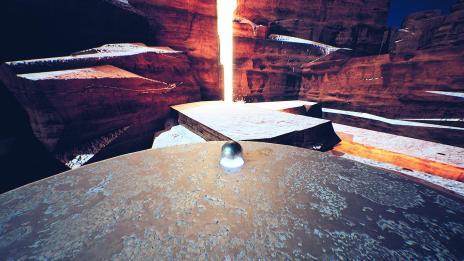 Screenshot aus dem Spiel Venineth; Zeigt Metallkugel auf einer Plattform die von Felsen und Lava umgeben ist