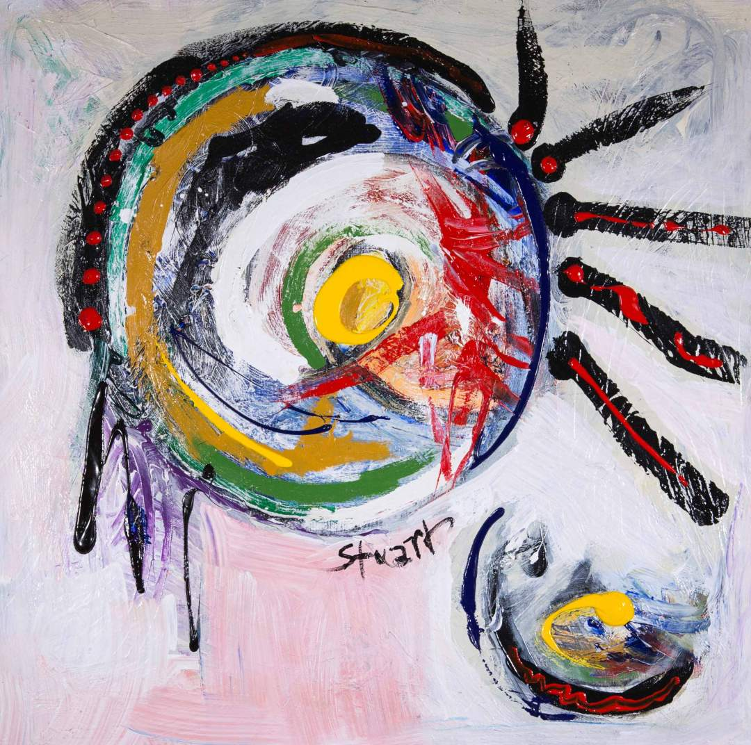 "Brave with Feathers, acrylic on canvas, 36"" x 36"", 2007"
