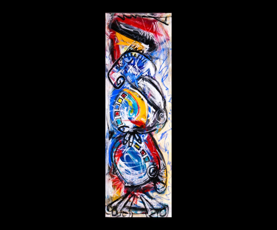 """Chess Piece: Knight, acrylic and oil on canvas, 20"""" x 60"""", 2014"""