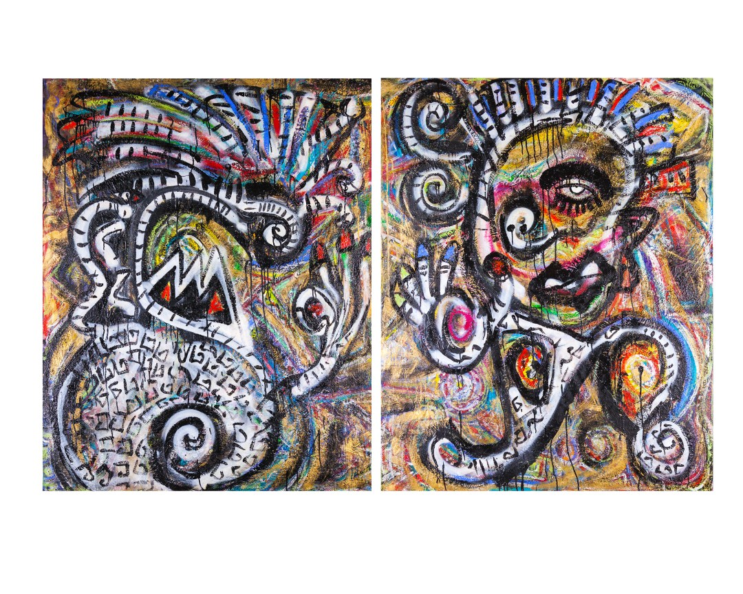 """The Break-up; acrylic, oil and spray paint on canvas, 2 panels @ 48"""" x 60"""""""