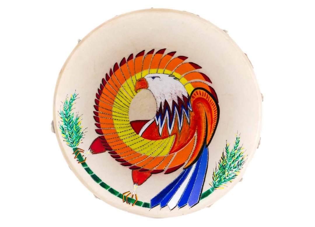 """Ritual Drum; acrylic on deerskin, 15"""" diameter, 1991"""