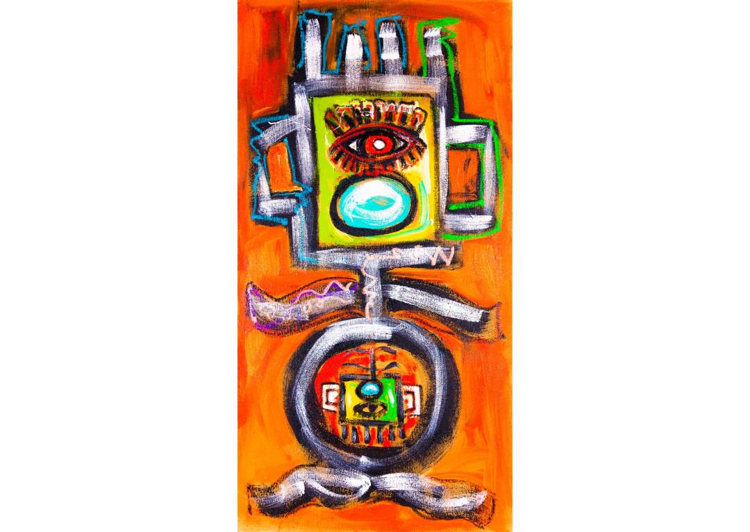 """gYg: knocked up; 35 1/4"""" x 68 1/4"""", acrylic and oil on pressboard, 2015"""