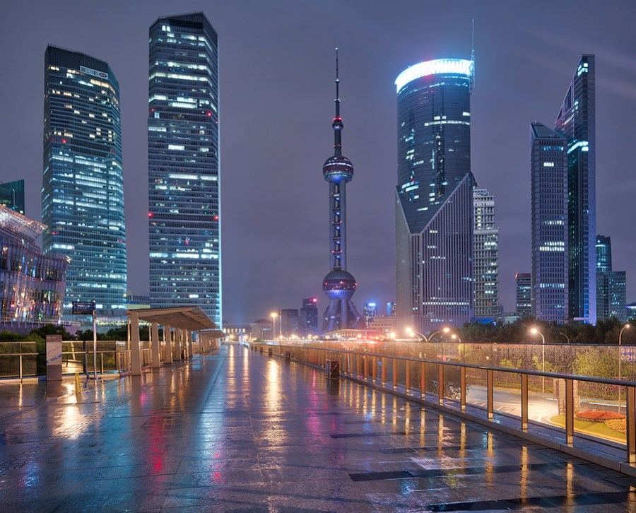 Wet Pudong at Night – Stuck in Customs