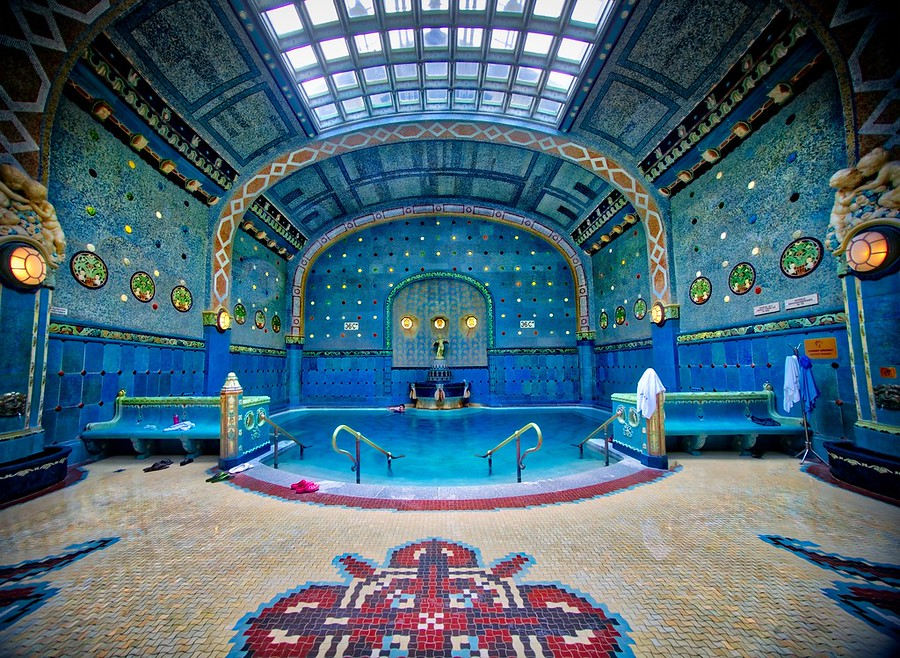 Here's another photo from one of the many beautiful thermal Turkish bath houses from Budapest. This one was kept at a balmy 36C - as you walk from bath to bath through this underground labyrinth, you can tell the temperature of the water by seeing the numbers in the tiled mosaics on the wall. We know it was balmy because we made a lot of videos in here... probably one of our corniest videos yet where Rene Smith does a bit of synchronized swimming with us. Of course, he was the star!