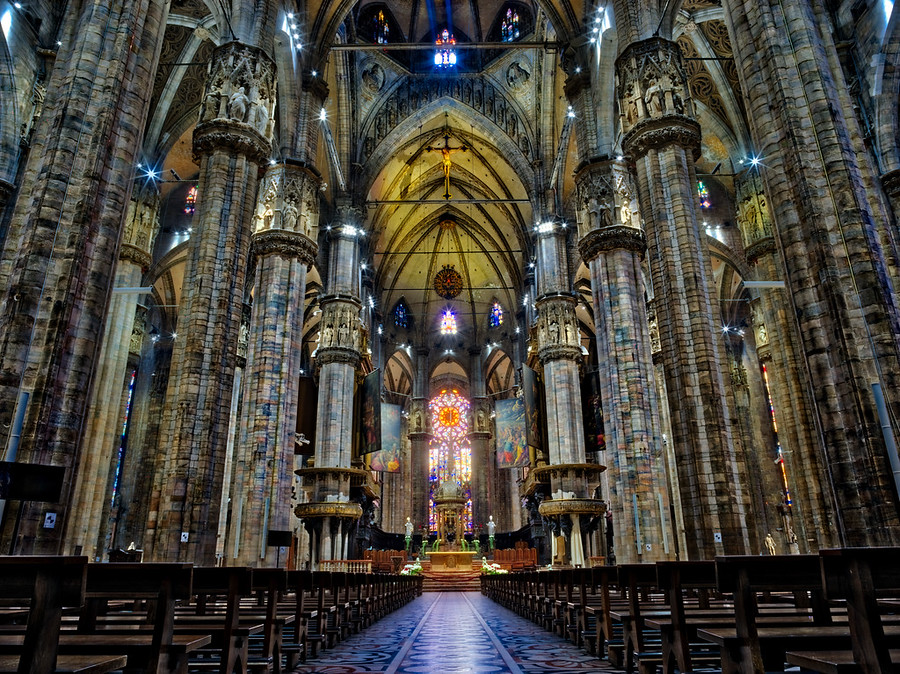 I shoot with a tripod quite a bit, especially inside some of these darker places, like the Duomo in Milan.  I had trouble getting a non-blurry shot if I dropped below 1/30 of a second.  The sensor has no stabilization.