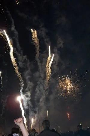 Fireworks go off next to the Hallgrímskirkja Cathedral in the center of Reykjavik