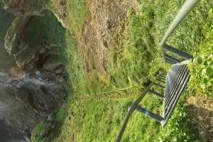 Steep stairs up the Drangey Island.