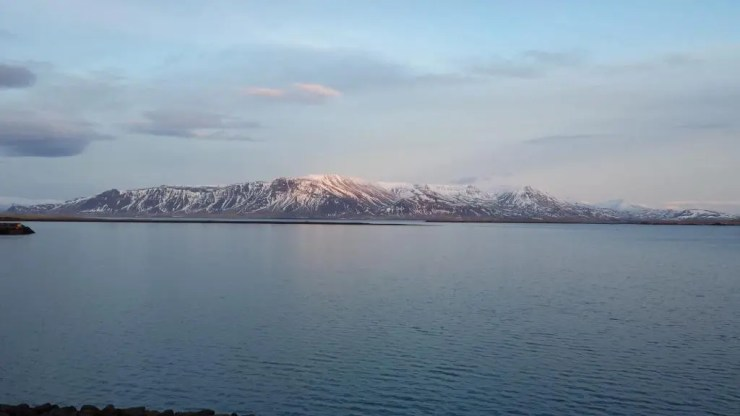 Mount Esja dominates the view to the north from Reykjavik.