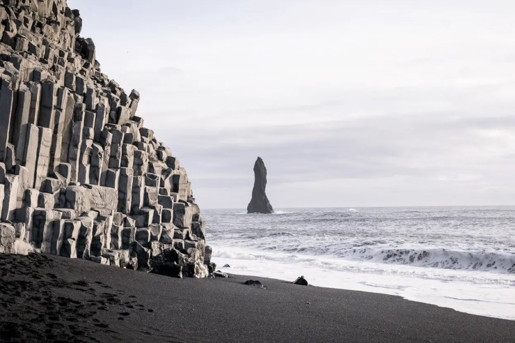 Reynisfjara beach near the village of Vík on the south coast of Iceland