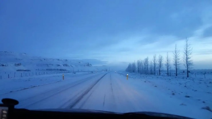 On the road in winter.