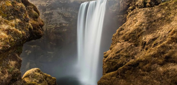 Waterfall seen in an Icelandic drone video.