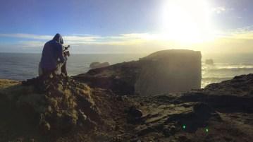 Filming at Dyrholaey