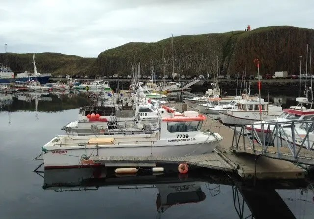Boats at the harbor in Stykkisholmur town.