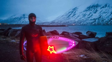 Iceland winter surfing. A a lot better than Hawaii summer surfing!