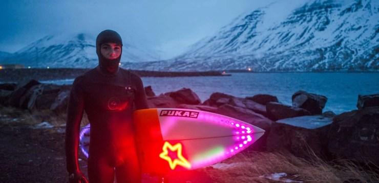 Iceland winter surfing. A a lot better than Hawaii summer surfing!