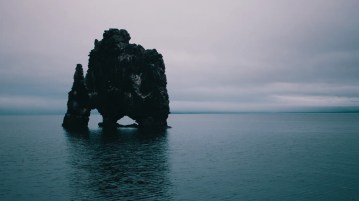 Hvítserkur monolith in the North West of Iceland. It is featured in an Iceland drone video.