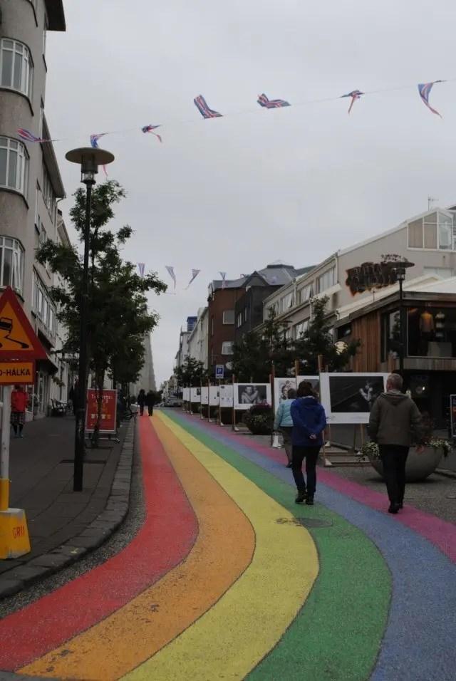 Skólavörðustígur street was rainbow colored in the summer. Iceland celebrates pride in style.