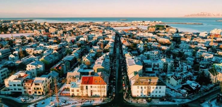 Central Reykjavik seen from Hallgrimskirkja cathedral.
