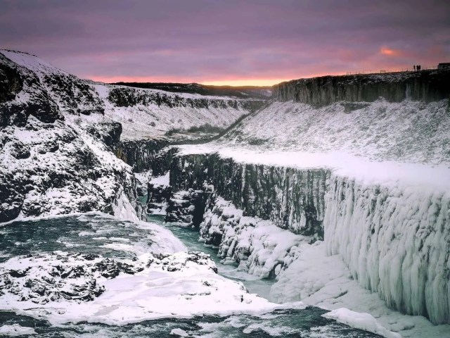 Gullfoss waterfall in winter.