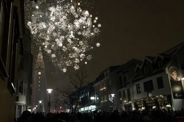 Insane fireworks over Hallgrimskirkja Cathedral on New Years Eve
