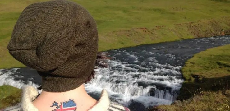 The girl with the Iceland tattoo.
