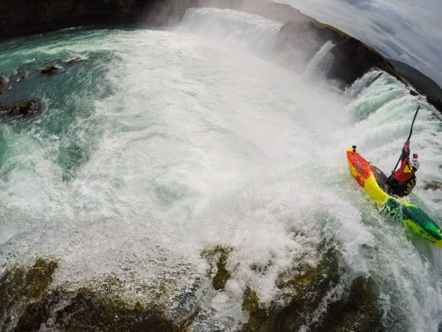 The heart must beat faster at the cusp of kayaking into a raging waterall.
