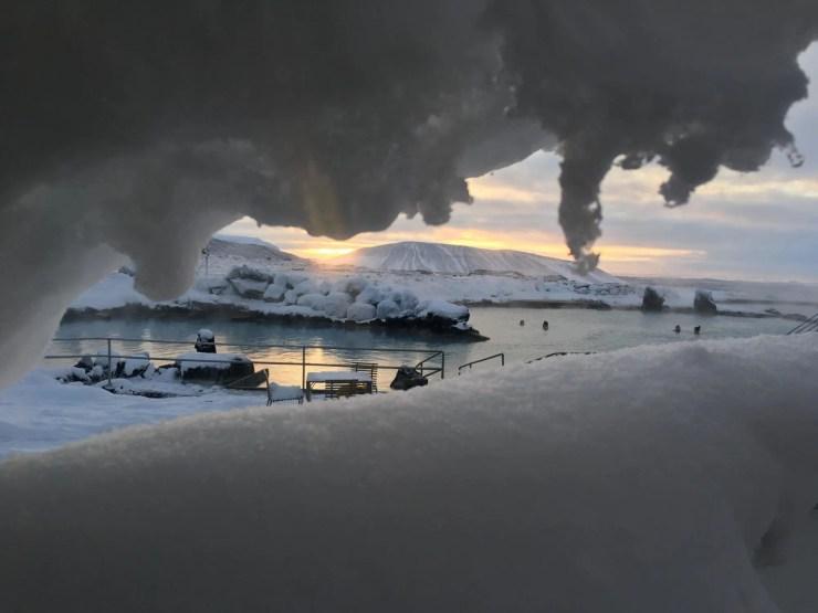 Steaming nature baths at Lake Myvatn.