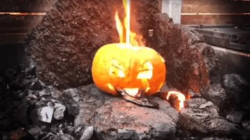 Pouring lava over a pumpkin. For science.